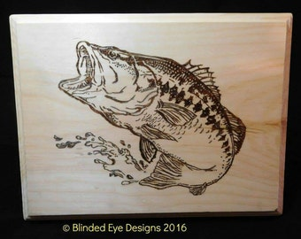 Bass fishing pyrography plaque