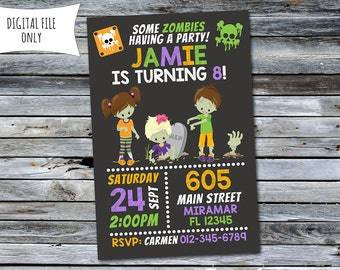 Zombie Invitation / Halloween Birthday Invitation (Personalized) Digital Printable File