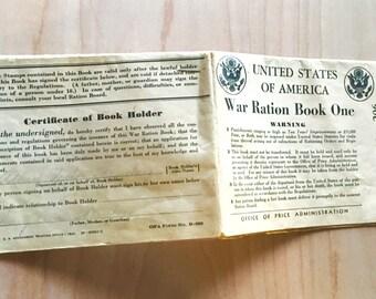 1942 Original War Ration Book One, World War II Memorabilia, Cheviot Ohio History, War Ration Stamp