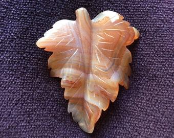 Agate Carved Leaf Pendant, Orange and White Carved Leaf Agate Natural Stone Pendant