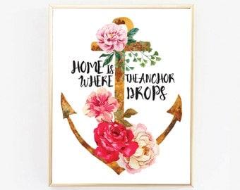 Anchor, Anchor Decor, Nautical Art, Anchor Art, Anchor Typography, Anchor Print, Anchor Poster, Wedding Poster, Wedding Print, Wall Art, Art