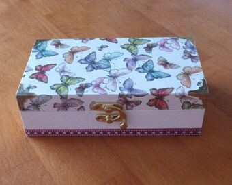 Hand decorated wooden rectangular trinket box featuring beautiful multi-coloured butterflies