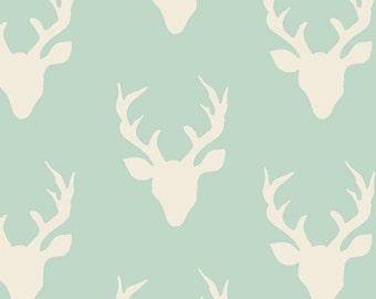 1 Yard Hello Bear, Buck Forest Mint, Bonnie Christine for Art Gallery Fabrics, Deer Fabric