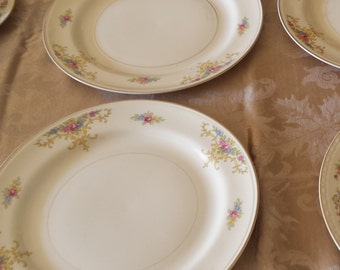 Vintage Homer Laughlin Eggshell Nautilus  Rochelle Pattern Dinner Plates  Retired in 1950