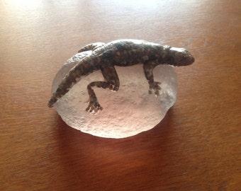 Pebbled Lizard sculpture on crystal ball effect rock