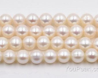 10-11mm off round pearls, real fresh water pearls, white big fine pearl beads, lustrous natural pearls, large hole available, FR750-WS