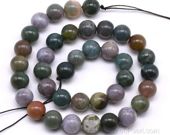 Indian agate beads, 10mm round, gemstone beads, natural fancy jasper beads, loose agate stone strand for bracelet or necklace, AGA2060