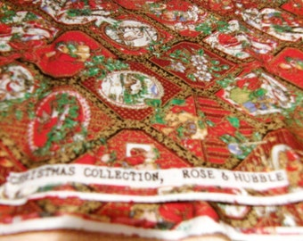 3 2/3 yds Rose and Hubble Christmas Collection ( Red BG)