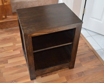 Rustic-style Nightstand with Dark Walnut Finish