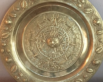 Mayan-inspired Vintage Brass Wall Plate