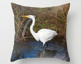 Great Egret Pillow Cover ~ Cabin Pillow, White Bird Pillow, Bird Decor, Blue and Brown Pillow, Nature Pillow, Wildlife Pillow, Throw Pillow