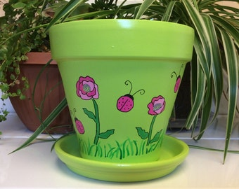 "8"" pink ladybug hand painted flower pot"