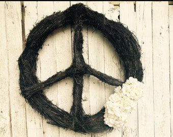 Peace Wreath - Peace Sign Wall Art - Boho Decor - Hippie Decor - Gypsy Decor - Gypsy Soul - World Peace - Peace Sign