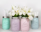 4- Hand Painted Pint Mason Jar Flower Vases-Easter Collection Two-Country Decor-Cottage Chic-Shabby Chic-French Chic