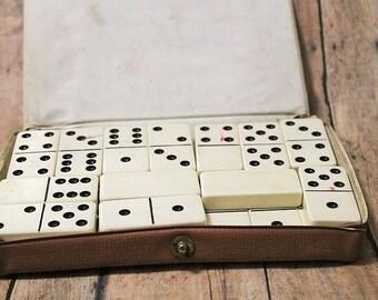 Vintage Domino set-Dominoes-Dominoes in leather case-crafting dominoes-Altered art use dominoes-Domino