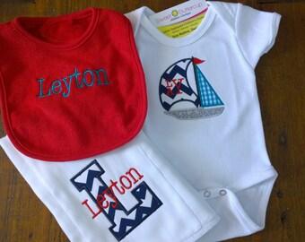 Sailboat themed Baby gift set: bib, burp cloth, bodysuit