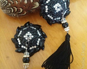 "The ""Tell Me Softly""  black and crystal nipple tassels nipple pasties cover"