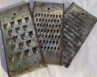 Vintage Wonder Shredder graters primitive distressed set of 3 sizes