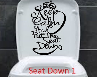 Keep Calm and Put seat downFunny Toilet Seat Bathroom Sticker Fast Shipping decorative vinyl decor decoration decal cheap  Removable poop on