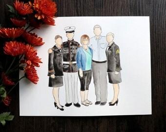 Custom 5-Person Watercolor Portrait