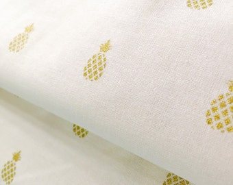 Gold Pineapple on White 100% Cotton Fabric