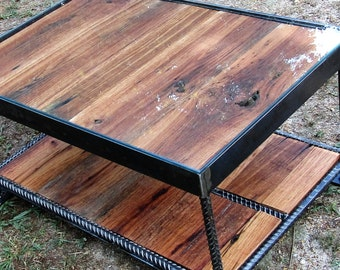 Reclaimed wood table, glass coffee table, barn wood coffee table, rustic table, industrial table, glass and wood coffee table, end table