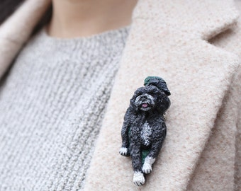 Portuguese Water Dog Brooch/Pin ~ Hand painted ~ 3 Dimensional Design