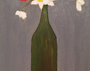 Green Bottle with Flowers