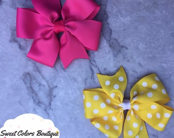 Set Of 2 Pink & Yellow Hair Bow