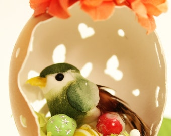 "Hand carved egg with miniature bird, flowers & bead ""eggs"","