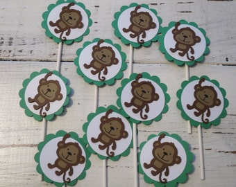 Monkey Cupcake Toppers, FREE US SHIPPING, Set of 12, Jungle Theme Baby Shower, Jungle Theme Birthday Party, Monkey Theme Party