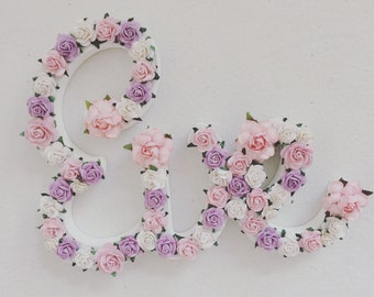 Custom made floral script names// nursery decor// room decor