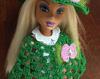 Barbie Doll Clothes/Crocheted Handmade poncho and hat