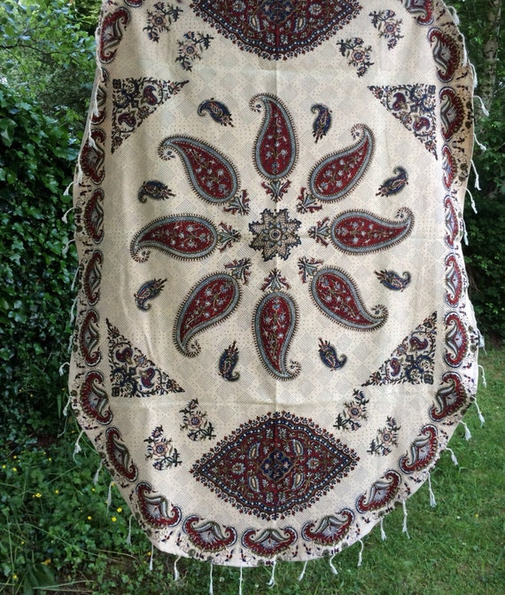 Oval tablecloth, paisley design handmade tapestry , natural dyes with tassels