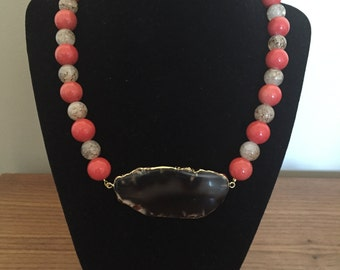 Coral agate necklace with brown agate stone pendant