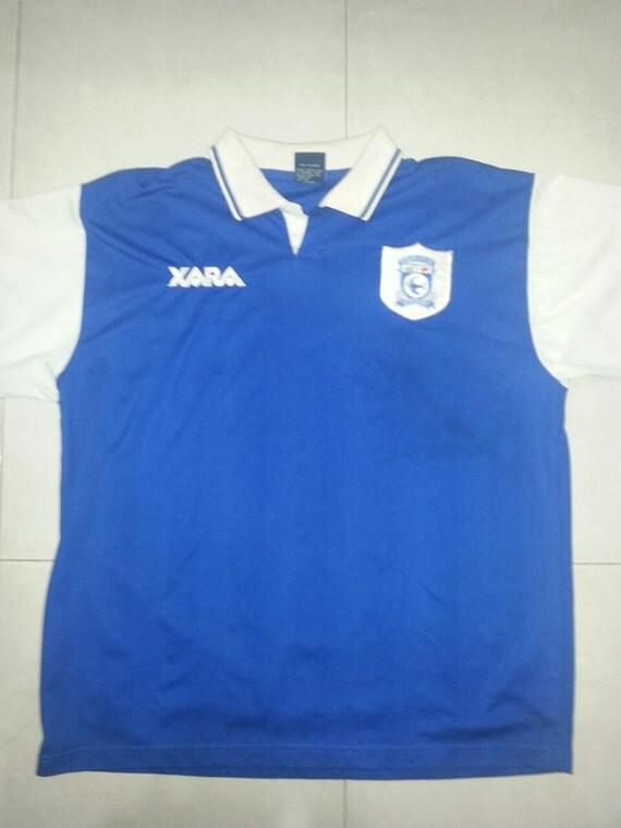 size 40 6e88d 12987 Vintage 90s Cardiff City FC Jersey by vintagenewshop on Etsy