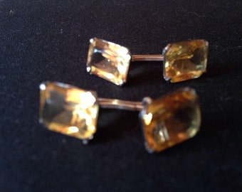cufflinks yellow pale crystal with thier box