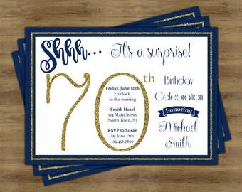 Surprise 70th Birthday Invitation; Surprise Birthday Invitation; Surprise Party Invitation; 70th Birthday Invites