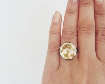 Pressed flower ring