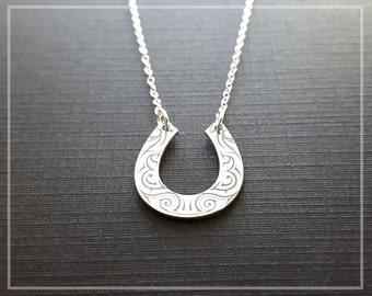 Horseshoe Necklace, Silver Horseshoe, Cowgirl Necklace, Horse Shoe Necklace, Lucky Horseshoe Charm, Premium Designed Necklace