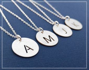 Letter Necklace, Initial Charm, Initial Pendant Silver Necklace, Initial Monogram