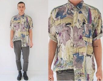 Abstract Silk Short Sleeve Mens Shirt/ 90s Washed Silk Shirt