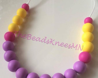 TODDLER: Yellow, Fuscia and Lavendar Silicone Bead Necklace