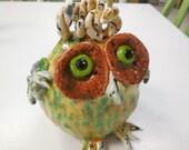 Hand built clay silly owl