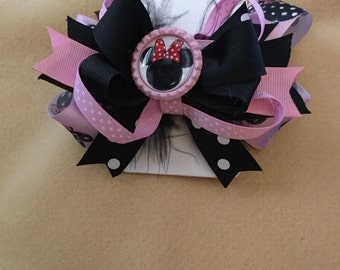 Minnie Mouse hair bow, pink and black Minnie Mouse hair bow