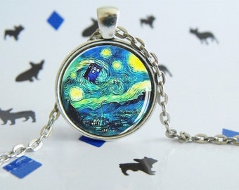 Tardis et Van Gogh - Dr.Who - Necklace - Special Jewel - Special Gift
