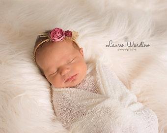Newborn Tieback, Newborn Headband, Baby Tieback, Baby Headband, Woodland Headband