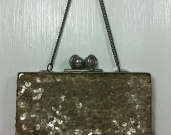Antique Silver Tone Sequin Handbag Clutch Purse Evening Bag
