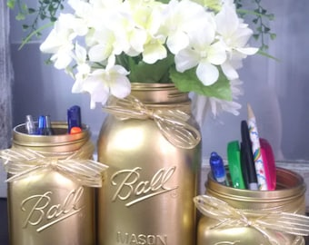 3pc Gold Mason Jar set