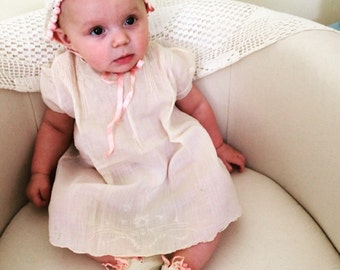 Vintage baby girl 1940's dress handmade in the Philippines/vintage baby dress
